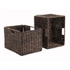 Winsome Wood Granville Foldable 2-Pc Tall Baskets Corn Husk, 13.78 x 10.43 x 9.45, Chocolate