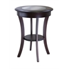 Winsome Wood Cassie Round Accent Table With Glass, 20 x 20 x 27, Cappuccino