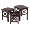 Winsome Wood Xola 3Pc Nesting Table, 21.1 x 17.32 x 22.13, Cappuccino