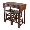 Winsome Wood Mercer Double Drop Leaf Table With 2 Stools, 49.76 x 18.48 x 33.86, Cappuccino