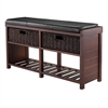 Winsome Wood Colin Cushion Bench With Baskets, 38.19 x 11.81 x 20.24, Cappuccino