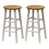 "Winsome Wood Tabby 2-Pc 24"" Bar Stool Set Natural & White, 12.8 x 12.8 x 24.49, Natural & White"