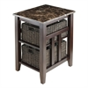 Winsome Wood Zoey Side Table Faux Marble Top With 2 Baskets, 16.54 x 20.08 x 25.04, Chocolate