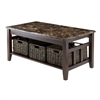 Winsome Wood Zoey Coffee Table Faux Marble Top, 40 x 22.05 x 18.11, Chocolate