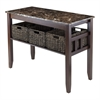 Winsome Wood Zoey Console Table Faux Marble Top With 3 Baskets, 40 x 18.11 x 30, Chocolate