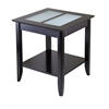 Winsome Wood Syrah End Table With Frosted Glass, 22.6 x 22.6 x 24, Dark Espresso