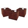 Winsome Wood Leo Set of 3 Wired Baskets, Small, 10.04 x 11.02 x 9, Antique Walnut