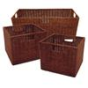 Winsome Wood Leo Set of 3 Wired Baskets, 1 Large And 2 Small, 22.83 x 10 x 9, Antique Walnut