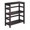 Winsome Wood Leo Shelf / Storage, Book, 2-Tier Wide, 25.2 x 11.22 x 29.21, Espresso