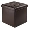 Winsome Wood Ashford Ottoman With Storage Faux Leather, 15 x 15 x 15, Espresso