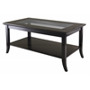 Winsome Wood Genoa Rectangular Coffee Table With Glass Top And Shelf, 40 x 22.28 x 18.03, Dark Espresso