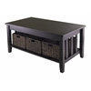 Winsome Wood Morris Coffee Table With 3 Foldable Baskets, 40 x 22.05 x 18.11, Espresso