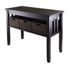Winsome Wood Morris Console Hall Table With 3 Foldable Baskets, 40 x 18.11 x 29.92, Espresso