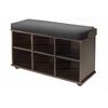 Winsome Wood Townsend Bench With Black Cushion Seat, 33.7 x 12.52 x 19.17, Dark Espresso