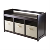 Winsome Wood Addison 4Pc Storage Bench With 3 Foldable Fabric Baskets In Beige, 37.4 x 13.5 x 20.87, Espresso / Chocolate