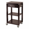Winsome Wood Linea Kitchen Cart With Chrome Accent, 21.65 x 16.38 x 35.04, Dark Espresso