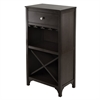 Winsome Wood Ancona Modular Wine Cabinet With One Drawer, Glass Rack, x Shelf, 19.09 x 12.6 x 37.52, Dark Espresso