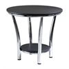 Winsome Wood Maya Round End Table, Black Top, Metal Legs, 23.82 x 23.82 x 22.05, Black / Metal