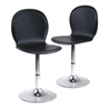 Winsome Wood Spectrum Set of 2, Swivel, Shell Chair, Faux Leather, Rta, 16.14 x 17.91 x 33.19, Black / Metal