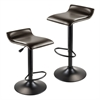 Winsome Wood Paris Set of 2 Airlift Adjustable Swivel Stool With Pu Leather Seat And Black Metal Base, 15.16 x 15.29 x 33.84, Espresso / Black