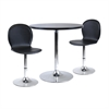 "Winsome Wood Spectrum 3Pc Dinning Table Set, 29"" Round And 2 Swivel Faux Leather Chairs, 28.74 x 28.74 x 29.5, Black / Metal"