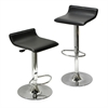 Winsome Wood Spectrum Set of 2, Adjustable Air Lift Stool, Black Faux Leather, Rta, 15.1 x 15.1 x 33.3, Black / Metal