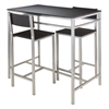 Winsome Wood Hanley 3-Pc High Table With 2 High Back Stools, 42.01 x 23.62 x 38.03, Black / Metal