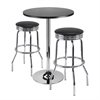 """Winsome Wood Summit 3-Pc Bar Table Set, 24"""" Table And 2 Stools, 23.62 x 23.62 x 39.76, Black / Metal"""