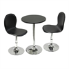 "Winsome Wood Spectrum 3Pc Set, 20"" Round Table With 2 Swivel Faux Leather Chairs, 19.7 x 19.7 x 29.5, Black / Metal"