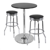 "Winsome Wood Summit 3-Pc Pub Table Set, 28"" Table And 2 Stools, 28.74 x 28.74 x 40.16, Black / Metal"