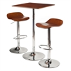Winsome Wood Kallie 3-Pc Set Pub Table Bar Height Stools, 23.62 x 23.62 x 40, Cappuccino / Metal