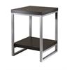 Winsome Wood Jared End Table, Enamel Steel Tube, 18.03 x 18.03 x 24.49, Dark Espresso