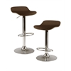 Winsome Wood Kallie Set of 2 Air Lift Adjustable Stool, Cappuccino Wood Veneer Top And Metal Base, 15.2 x 16.73 x 33.61, Cappuccino / Metal