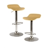 Winsome Wood Kallie Set of 2 Air Lift Adjustable Stool, Cappuccino Color Wood Veneer Top And Metal Base, 15.2 x 16.73 x 33.61, Natural / Metal