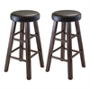 Winsome Wood Marta Set of 2 Round Counter Stool, Pu Leather Cushion Seat, Square Legs, Assembled, 13.39 x 13.39 x 25.4, Antique Walnut