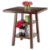 Winsome Wood Orlando High Table W/ 2 Shelves, 33.86 x 33.86 x 36.06, Walnut