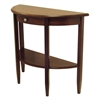 Winsome Wood Concord Hall / Console Table,  Half Moon With Drawer, Shelf, 39.2 x 15.7 x 33.6, Antique Walnut