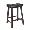 "Winsome Wood Mona 24"" Cushion Saddle Seat Stool, Black Faux Leather, Wood Legs, Rta, 17.48 x 14.49 x 24.8, Antique Walnut"