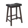 "Winsome Wood Mona 24"" Cushion Saddle Seat Stool, Black Faux Leather, Wood Legs, Rta, 17.48 x 14.49 x 24.8, Antique Walnut"