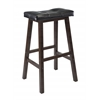 "Winsome Wood Mona 29"" Cushion Saddle Seat Stool, Black, Faux Leather, Rta, 17.93 x 15.83 x 29.69, Antique Walnut"