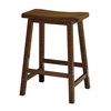 "Winsome Wood Satori 24"" Saddle Seat Bar Stool Antique Walnut, 17.48 x 14.47 x 24, Antique Walnut"