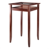 Winsome Wood Halo Pub Table With Glass Inset & Shelf, Walnut, 25.59 x 25.59 x 42.13, Walnut