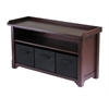 Winsome Wood Verona Storage Bench With 3 Foldable  Black Color Fabric Baskets, 40 x 14.2 x 22, Walnut / Black