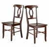Winsome Wood Renaissance 2-Pc Set Key Hole Back Chairs, 17.36 x 21.14 x 36.65, Walnut