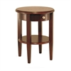 Winsome Wood Concord Round End Table With Drawer And Shelf, 17.32 x 17.32 x 22.48, Antique Walnut