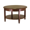 Winsome Wood Concord Round Coffee Table With Drawer And Shelf, 30 x 30 x 18, Antique Walnut