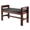 Winsome Wood Thomas Bench With Cushion Seat, 39.84 x 16.14 x 23.43, Walnut