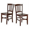 Winsome Wood Madison 2-Pc Set Slat Back Chairs, 17.17 x 19.29 x 34.69, Walnut