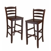 "Winsome Wood Benjamin 2-Pc Ladder Back 30"" Bar Stool Set Antique Walnut, 16.58 x 19.35 x 42.46, Antique Walnut"