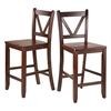 "Winsome Wood Victor 2-Pc 24"" V Back Counter Stools, 16.54 x 19.21 x 39.17, Walnut"